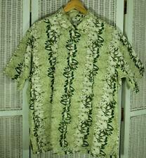 LE FROG Men's Hawaiian Short-Sleeve Shirt XL Green Tones Aloha Top 53″ Chest