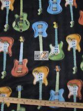 GUITAR PRINT POLAR FLEECE FABRIC - Guitars All-Over Black -  SOLD BTY (CRF) WARM