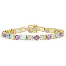 Amour Yellow Plated Sterling Silver Topaz Amethyst Bracelet