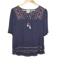 Knox Rose Peasant Blouse Women's Sz XXL Blue Short Sleeve Tassel Boho Top