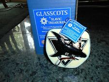 Slavic Treasures Hockey S.J. Sharks Ornament.Mouthblown Hand Painted.Nib