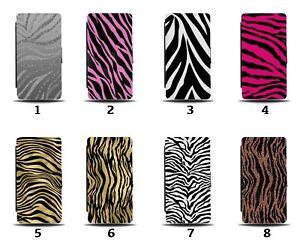 Zebra Print Flip Wallet Case Gold Hot Pink Zebras Skin Stripes Design 8166a