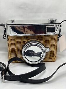 Kate Spade New York Rose Camera Wicker Bag Leather Trim Optic White