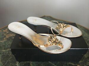 Giuseppe Zanotti Silver/gold stone Embellished shoes, Sz. 38 (8), Mint