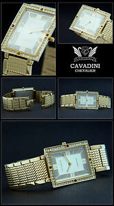 Cavadini Jewellery Band Mens Watch Stainless Steel Gold Plated Zirconia CV-3685G