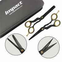 NEW Professional Barber Scissors Hair Cutting Thinning Set Black RAZOR SHARP