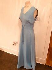 VINTAGE 70'S BLUE DIAMONTE TRIM BRIDESMAID MAXI DRESS UK 12 MEDIUM