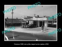 OLD LARGE HISTORIC PHOTO OF NEWTOWN NSW, AMPOL OIL Co SERVICE STATION c1950
