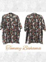 Tommy Bahama Sz XL Men's Leaf Print 100% Silk Button Down Shirt Top