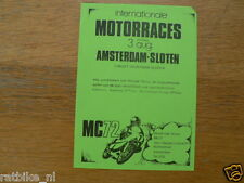 FLYER MINI MC72 AMSTERDAM-SLOTEN MOTORCLUB INT. MOTORRACES 3-8-1975