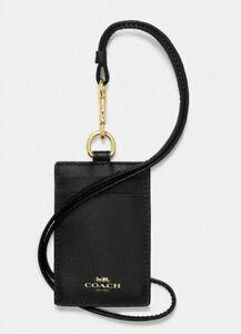 Coach ID Lanyard Leather Card Case Holder ~NWT~ Black f57311