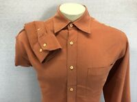 Bugatchi Uomo Men's Long Sleeve L Orange Rust Shirt  Button Front