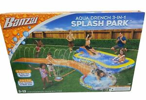 Banzai Aqua Drench 3-in-1 Splash Park Pool & Water Slide With Attached Sprinkler