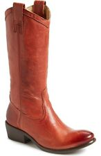 FRYE SHOES CARSON PULL ON BOOTS BURNT RED DISTRESSED LEATHER 77687 8 $378 NEW