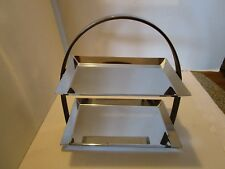 """ART DECO MANNING BOWMAN CHROMED & WOOD DOUBLE 2 TIER SERVER MB 1930's 11"""" tall"""