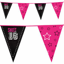 6m Sweet 16 16th Birthday Style Party Pennant Flag Banner Bunting Decoration