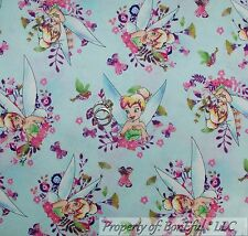 BonEful FABRIC FQ Cotton Quilt Blue TINKERBELL Disney Flower Fairy Princess Girl