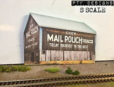 S Scale MAIL POUCH TOBACCO BARN Flat / Front 3D Background w/LED, Farm S Gauge