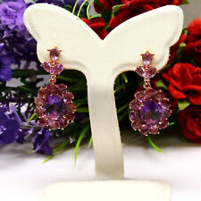 NATURAL 8 X 10 mm. OVAL WITH PEAR PURPLE AMETHYST EARRINGS 925 STERLING SILVER