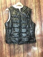 Tangerine XXL Shiny Black Quilted Puffer Vest w/ Hood Jersey Lined Full Zip