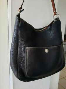 Coach Thick Soft Black Pebbled Leather Hobo Shoulder Bag in Good Condition