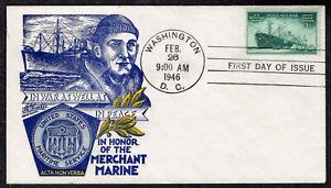 1946 Honoring WWII US Merchant Marine - Staehle FDC QH323