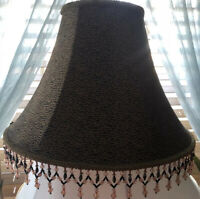 Beaded Bell Lamp Shade GoldBrown Black Prints 6 Panel Fabric Spider Fitter Lined