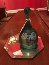 Fenton Glass Green Hand Painted Nativity bell Birth of a Savior -1st ed #2417