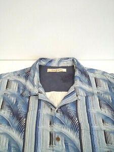 Tommy Bahama Men's Silk Shirt Size XL Blue Foliage S/S Button Up Hawaiian Top