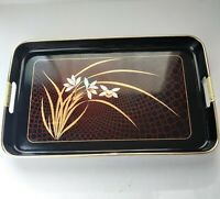"Vintage Black Lacquer Serving Tray Flowers Plants Gold Detail Japan 16.5""X11"""