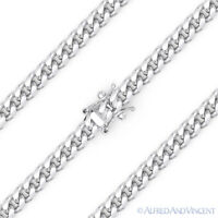 4.2mm Miami Cuban Curb Link Italy .925 Sterling Silver w/ Rhodium Chain Necklace