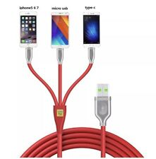 Multi USB Cable 3 In 1 (1.2m/4ft) Plastic Aluminum Alloy 2.4A USB Charging