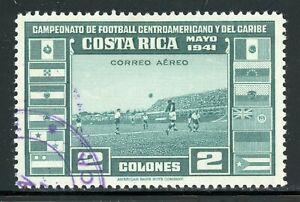 COSTA RICA Used Air Post: Scott #C65 2C Central American Soccer Football CV$17+
