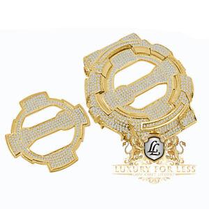 Yellow Gold Tone Face Plate + Bezel 2 Piece Combo Diamond G-Shock GA-100 Watch