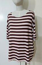 Marks & Spencer M&S T-shirt Top Tee Sz 20 Stripes Sleeve Eyelet Detail Nautical