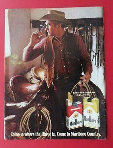 1969 Marlboro Cigarette - Marlboro Red or Longhorn 100's Color AD