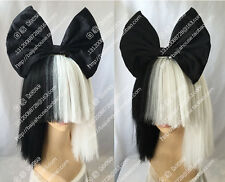 sia black and white short straight hair fashion models women wig+Black bowknot