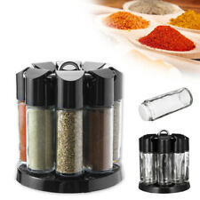 8 Jars Rotating Spice Rack Stand Kitchen Storage Holder Condiments Container L1