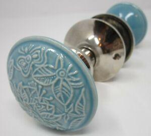 Doorknob Set Aqua Ceramic Raised Texture Chrome Surround Decorator Interior Door