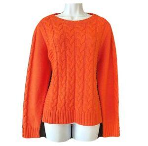PER UNA Women's UK 14 Arran Jumper Soft Cable Knit Coral Pullover Sweater Top