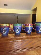 Sweet Shoppe Christmas Sango Sue Zipkin Snowman Holiday Set 4 Footed Mugs NIB!
