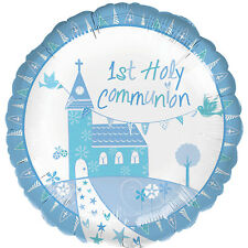 """18"""" 1ST FIRST HOLY COMMUNION BLUE BOY CHURCH HELIUM FOIL BALLOON PARTY 35709"""