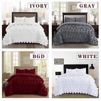 HIG 3 Piece Comforter Set Hundred Burrterfly Flower Applique ENFIELD Bedding