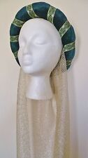 Green & Gold Medieval Headdress MADE TO ORDER Gothic Headpiece Pagan Circlet Hat