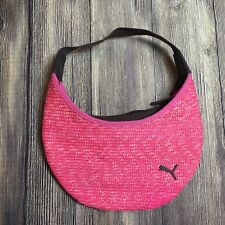 Puma Hobo Shoulder Straw Bag Pink Brown Animal Logo Purse Zipper