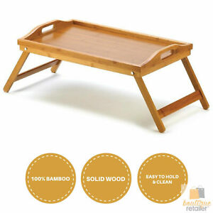 BAMBOO FOLD UP LAP SERVING TRAY Tea Coffee Table Wooden Breakfast in Bed Folding