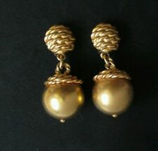 Vintage Anne Klein Ball Earrings Chunky Statement Goldtone Clip On acorn Jewlery