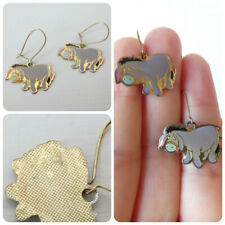 Vintage Disney Eeyore Cute Earrings Dangle Drop Pierced Gold Tone Hook Fastening