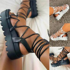 Womens Shoes Summer Espadrilles Flat Wedge Sandals Lace Up Ankle Platform Shoes