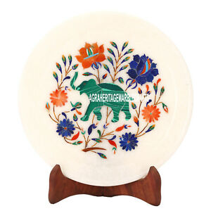 8'' White Marble Plate Malachite Elephant Arts Inlay Marquetry Work Decor H3587